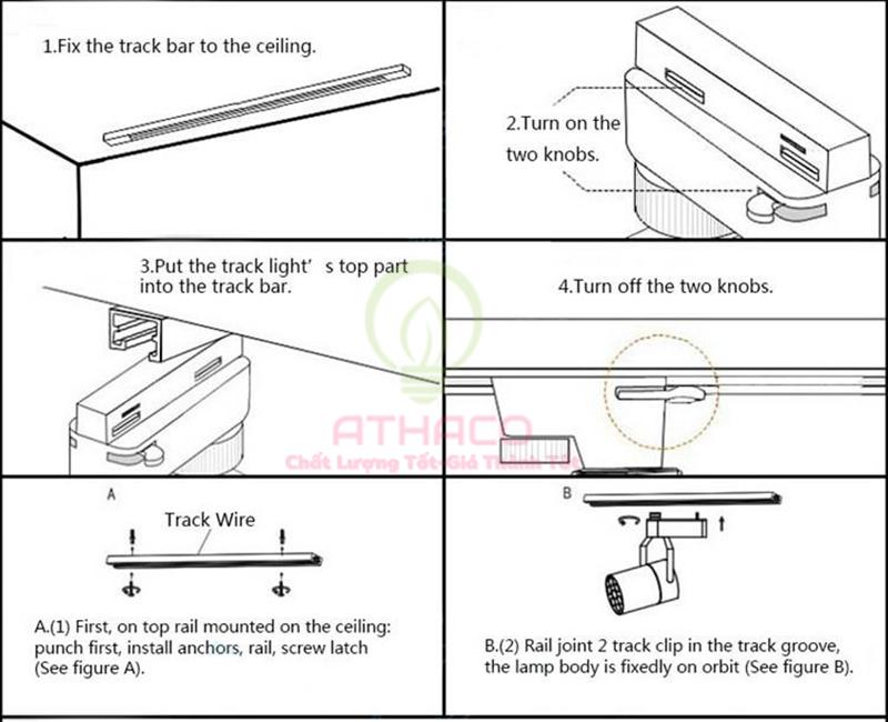Cách lắp đặt đèn led Rọi Ray Athaco