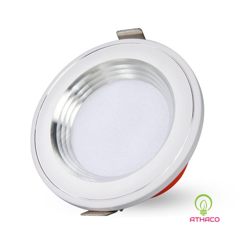 Đèn led âm trần 3 chế độ 7W D76 viền bạc