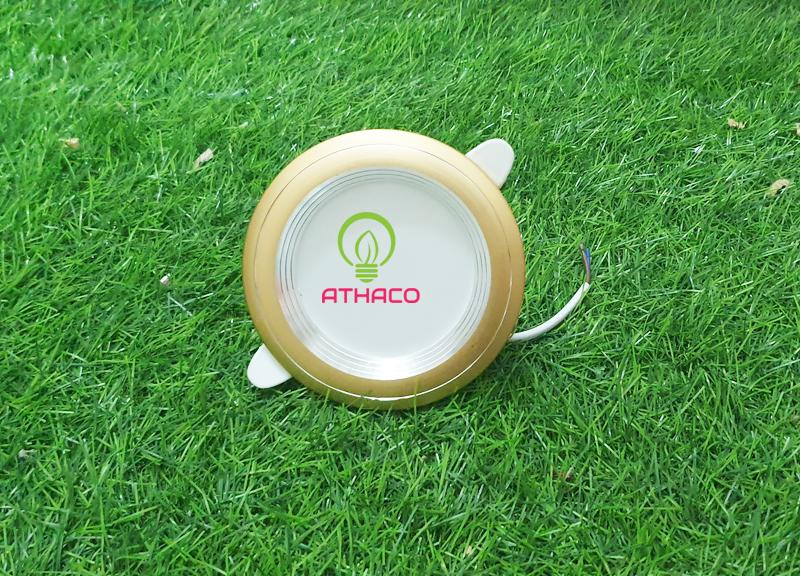 Đèn led âm trần 3 chế độ 7W viền vàng Athaco