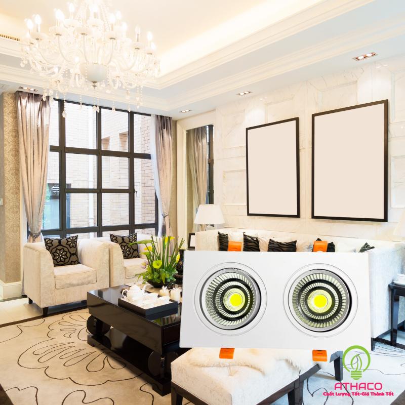 Đèn led âm trần cho phòng khách