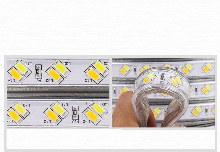 Đèn led dây 5730 siêu sáng 2 hàng bóng chéo  hắt trần cao cấp 100M