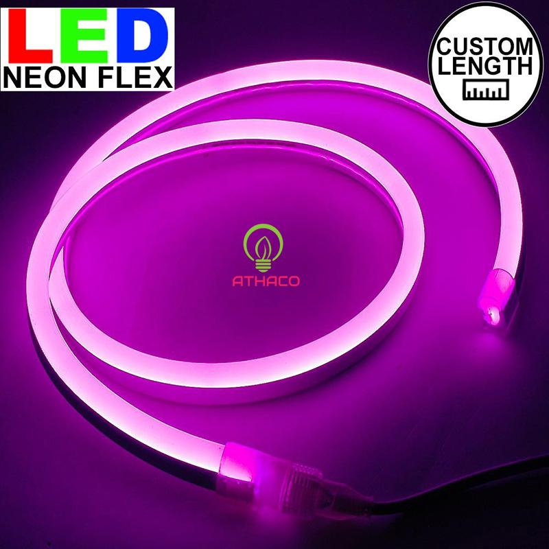 Đèn led dây neon 220v cuộn 100m màu hồng