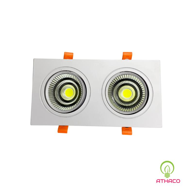Đèn led downlight âm trần đôi 2x7W COB  mặt vuông