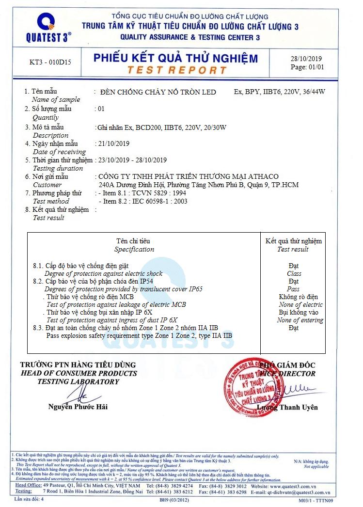 giấy chứng nhận chất lượng đèn chống nố tròn BCD 250 athaco